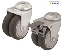 LIGHT DUTY TWIN WHEEL CASTERS WITH THERMOPLASTIC RUBBER TREAD
